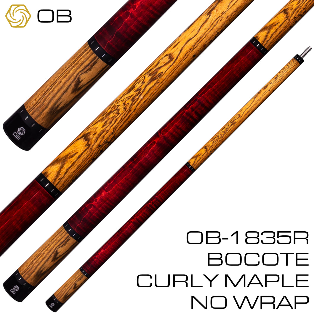 OB-1835R Pool Cue - Bocote Curly Maple - No Wrap
