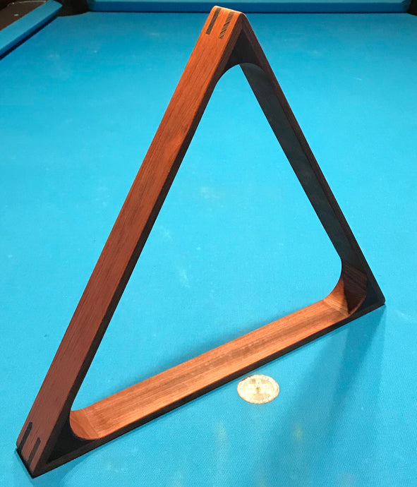 Custom Sapele Wood 8 Ball Rack with Wenge Inlay - 8 Ball Triangle Rack