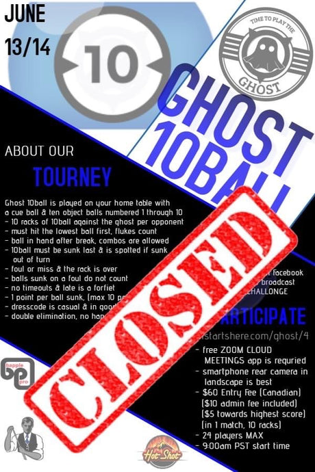 OPEN GHOST 10 BALL TOURNAMENT - JUNE 13 & 14
