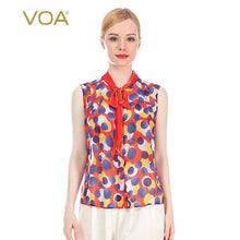 VOA Silk 12m/m Dotted Print Georgette Ribbon Bow Tie Sleeveless Women's Single-Breasted Lightweight Breathable Shirt Female BE97