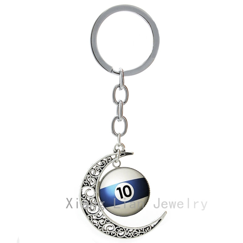 Billiard Ball Moon Pendant Keychain