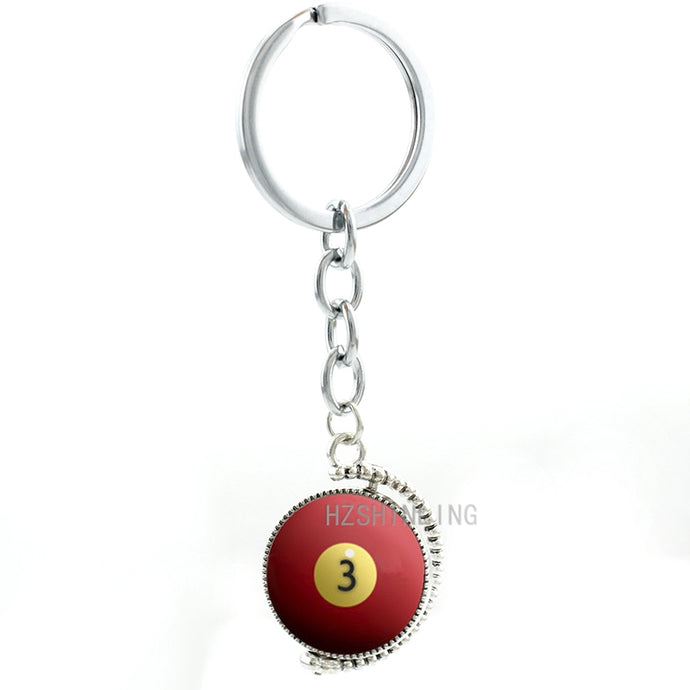 Number 3 Red Billiard Ball Double Sides Rotatable Keychain