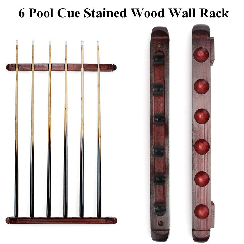 Solid Wood Billiard Cue Stick Rack Holder - 6 Cues Holder