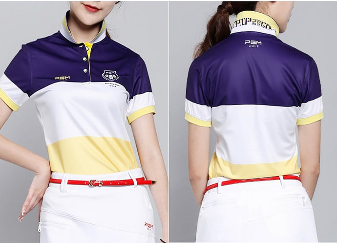 PGM golf clothing ladies color short sleeve T shirt breathable stretch, Free shipping