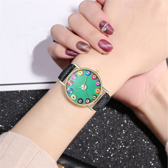 Funky Ladies Billiard Watches Leather Strap -  Quartz