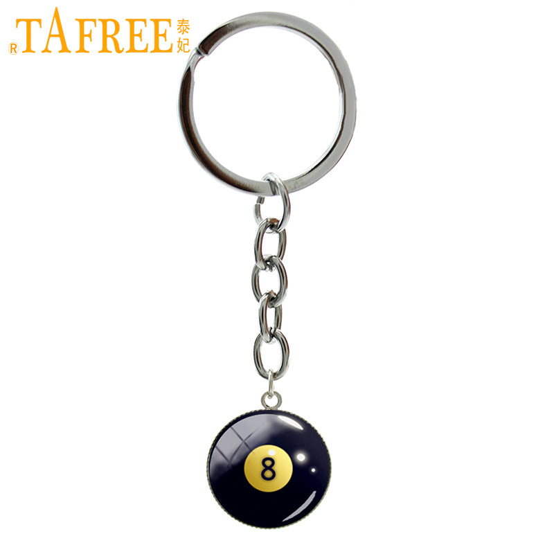 Number 8 Billiard Ball Key Chain