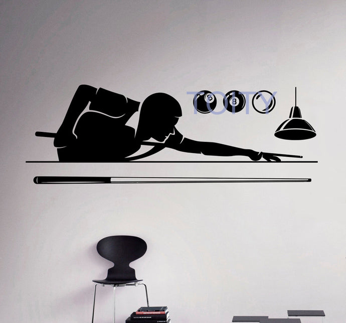 Billiard Pool Creative Sport Vinyl Wall Decal Art Decor  H56cm x W152cm