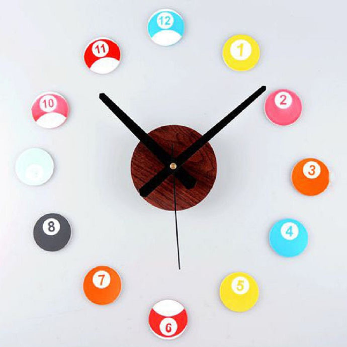 Saat Clock Reloj Wall Cock Duvar Saati Relogio de parede Horloge Murale Klok Watch Billiards Digital Self adhesive wall clocks