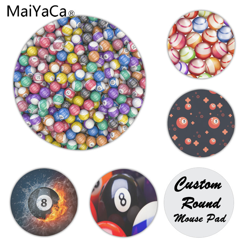 Billiard balls on laptop Gaming mouse pad Size for 200x200x2mm and 220x220x2mm Round Mousemats