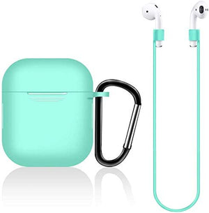 Earpods Case Silicon with Earbuds Strap and Keychain Upgraded Ultra-Thin Soft Skin Cover Compatible with i12 inpods 12 Apple AirPods 2 & 1 (i12 Case-Green)