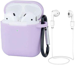 AirPods Case Silicon with Earbuds Strap and Keychain Upgraded Ultra-Thin Soft Skin Cover Compatible with Apple AirPods 2 & 1 (AirPods Case-Purple)