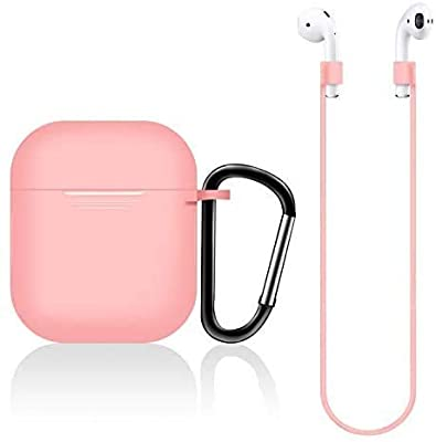 New Earpods Case Silicon with Earbuds Strap and Keychain Upgraded Ultra-Thin Soft Skin Cover Compatible with i12 inpods 12 Apple AirPods 2 & 1 - (i12 Case-Pink)