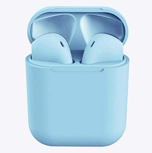 TWS Wireless Earbuds Headsets Bluetooth Headphones in Ear Fast Charging Case 3D Stereo IPX5 Waterproof Auto Pairing for Phone/IOS/Android/PC Optional Color Case Strap -i12 (Earbuds-Light Blue)