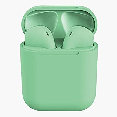 TWS Wireless Earbuds Headsets Bluetooth Headphones in Ear Fast Charging Case 3D Stereo IPX5 Waterproof Auto Pairing for Phone/PC/Pad Optional Color Case Strap -i12 (Earbuds-Green)