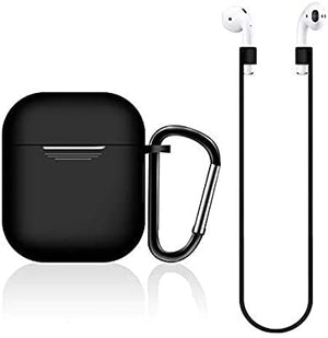 New Earpods Case Silicon with Earbuds Strap and Keychain Upgraded Ultra-Thin Soft Skin Cover Compatible with i12 inpods 12 Apple AirPods 2 & 1 - (i12 Case-Black)