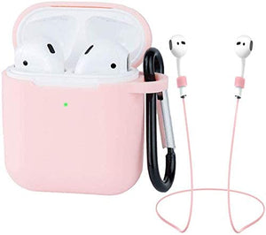 AirPods Case Silicon with Earbuds Strap and Keychain Upgraded Ultra-Thin Soft Skin Cover Compatible with Apple AirPods 2 & 1 -((AirPods Case-Pink)