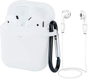 Earpods Case Silicon with Earbuds Strap and Keychain Upgraded Ultra-Thin Soft Skin Cover Compatible with i12 inpods 12 Apple AirPods 2 & 1 - (i12 Case-Clear)