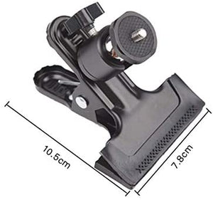 "Camera Mount Clip Clamp with Spring and Adjustable Ball Head - Standard 1/4"" Mounting Screw as Camera Tripod Accessories Compatible to Any Camera with Standard Tripod Port Connector"