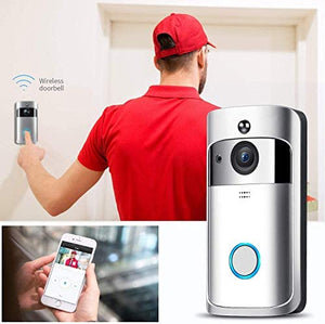 WiFi Video Doorbell Camera with LED Ring HD AC or Battery Power Two-Way Audio Talk Notification/Alert on Phone SD Card Recording Smart Night Vision-V5