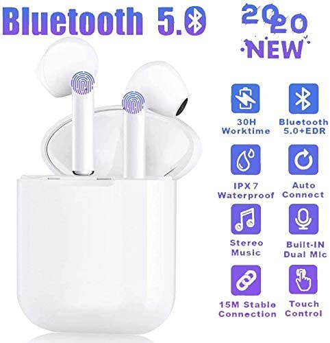 TWS Wireless Earbuds Headsets Bluetooth Headphones in Ear Fast Charging Case 3D Stereo IPX5 Waterproof Auto Pairing for Phone/PC/Pad Optional Color Case Strap -i12 (Earbuds-White)