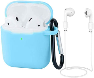 Earpods Case Silicon with Earbuds Strap and Keychain Upgraded Ultra-Thin Soft Skin Cover Compatible with i12 inpods 12 Apple AirPods 2 & 1 - (i12 Case-Blue)