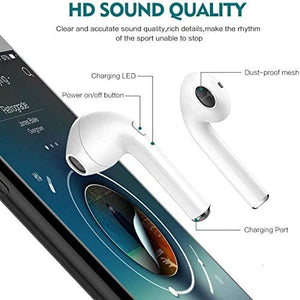 TWS Wireless Earbuds Headsets Bluetooth Headphones in Ear Fast Charging Case 3D Stereo IPX5 Waterproof Auto Pairing for Phone/iOS/Android/PC Optional Color Case Strap -i12 (Earbuds-Black)