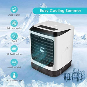 Personal Air Cooler Purifier,3 in 1 Air Space Conditioner, Mini USB Fan Evaporative Spray Humidifier Purifier USB Powered Air Conditioner Small Desk Fan Electric Fog Fan For Travel/Home/Outdoor/Work/Summer (Air Cooler)