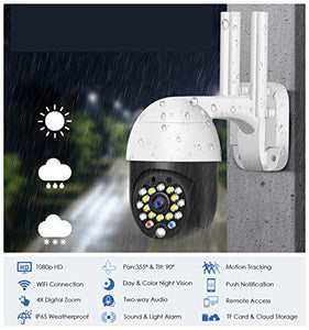 EsiCam Waterproof WiFi Speed Dome Surveillance Camera Outdoor PTZ Wireless IP Camera with iOS & Android APP 4X Zoom Pan Tilt(355 degree/90 Degree)