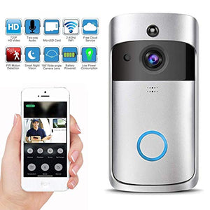Wireless Video Doorbell with LED Ring Button HD WiFi Camera with Real-time Video, Two-Way Talk, Night Vision, PIR Motion Detection, SD Card iOS Android,Powered by AC & DC & Battery (6 Months Work)