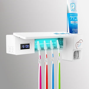 UV Light Toothbrush Holder Sterilizer Box Ultraviolet LED Antibacterial Toothbrush Cleaner Toothpaste Dispenser With USB Charge