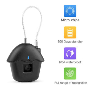 Smart Fingerprint Padlock Biometric USB charge Waterproof Lock with Finger Print Security Touch Keyless Lock Long Standby Time