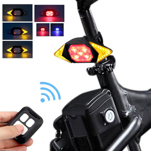 Smart Bike Turning Signal Cycling Taillight Intelligent USB Bicycle Rechargeable Rear Light Remote Control LED Warning Lamp