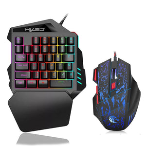 HXSJ J50 Ergonomic Keyboard And Mouse Combo Colorful Backlight One-Handed Wired Gaming Keyboards 5500DPI PC Gamer Set For LOL CS