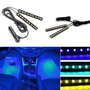 Multicolor Car 9 LED 2 In1 Interior Atmosphere Lights Dash Floor Foot Strip Lights Cigarette Lighter Adapter Decorative Lamp