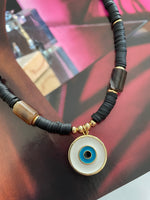 Rubber and stones with evil eye choker