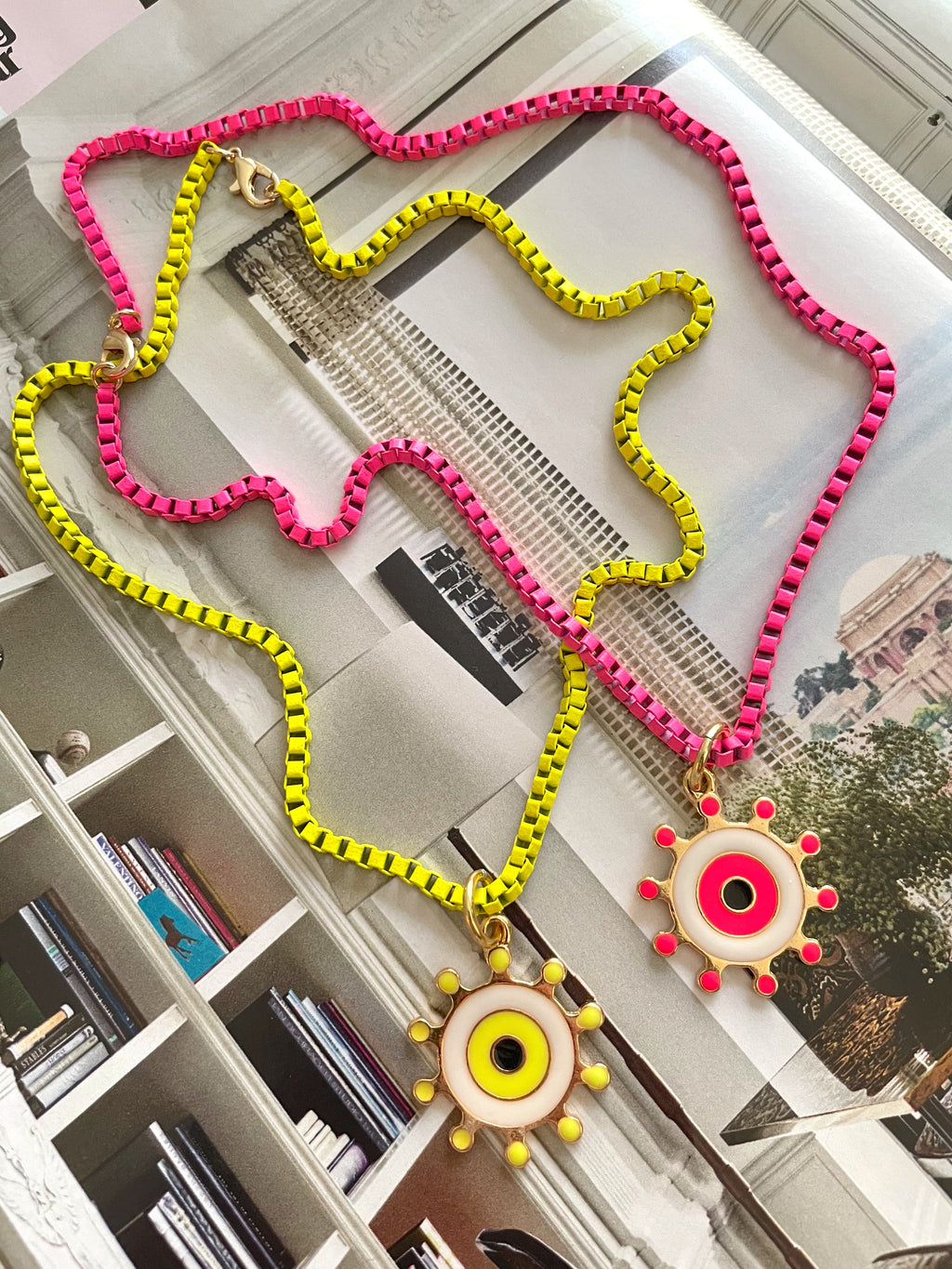 Neon necklace and eye pendant
