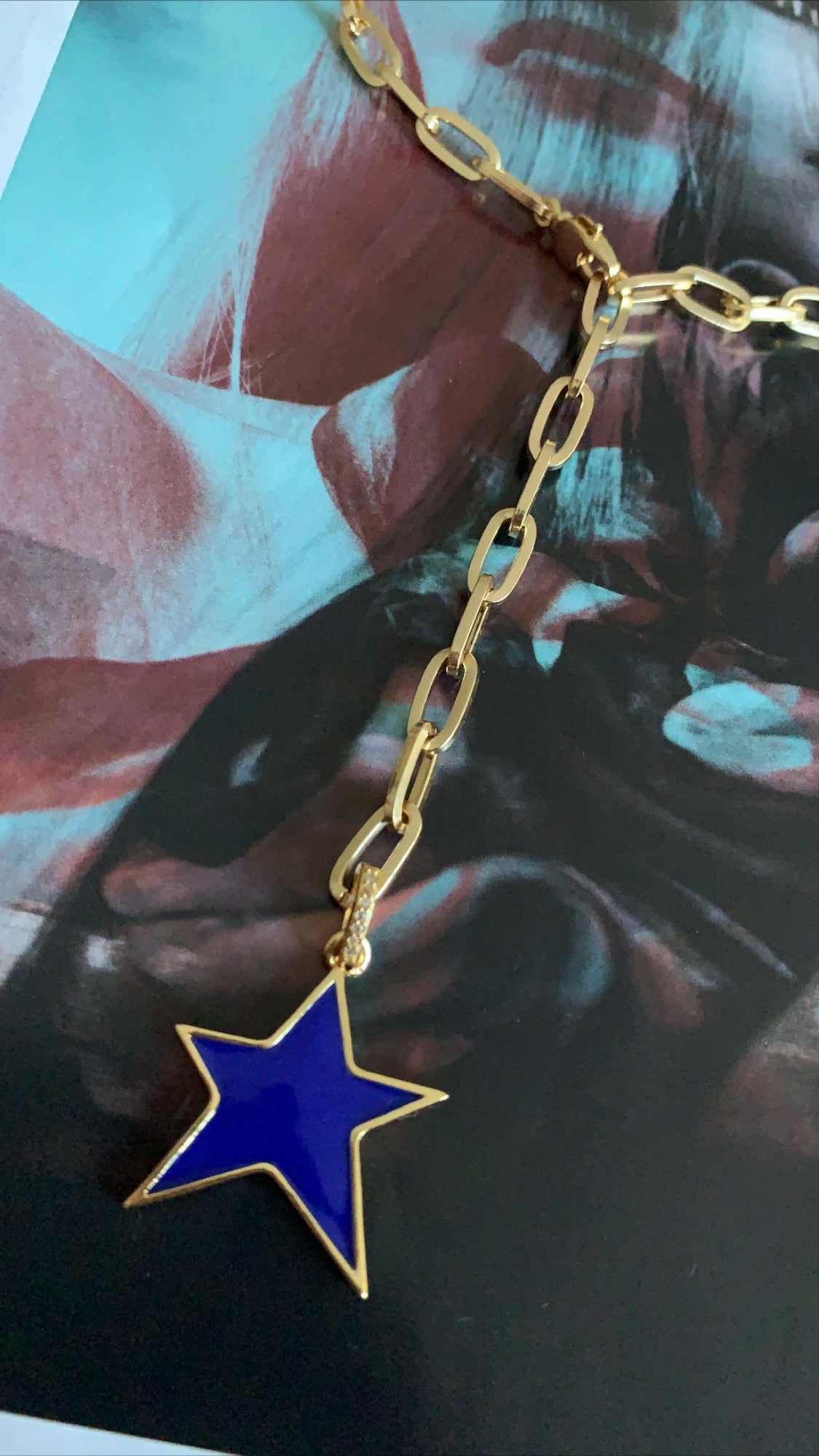 Blue Star linked Necklace