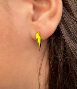Enamel lightning stud earrings