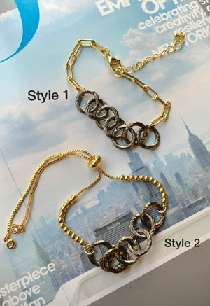 Rhodium circles gold bracelet
