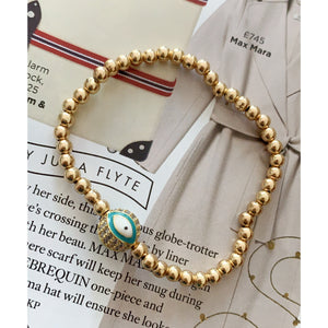 Gold beaded with Turquoise Evil Eye