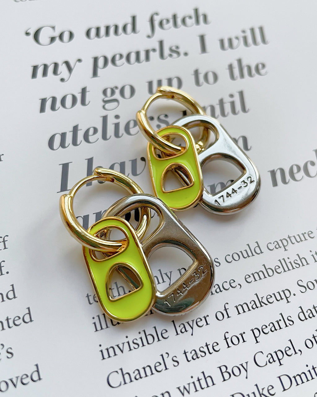 Combined neon soda caps gold plated earrings