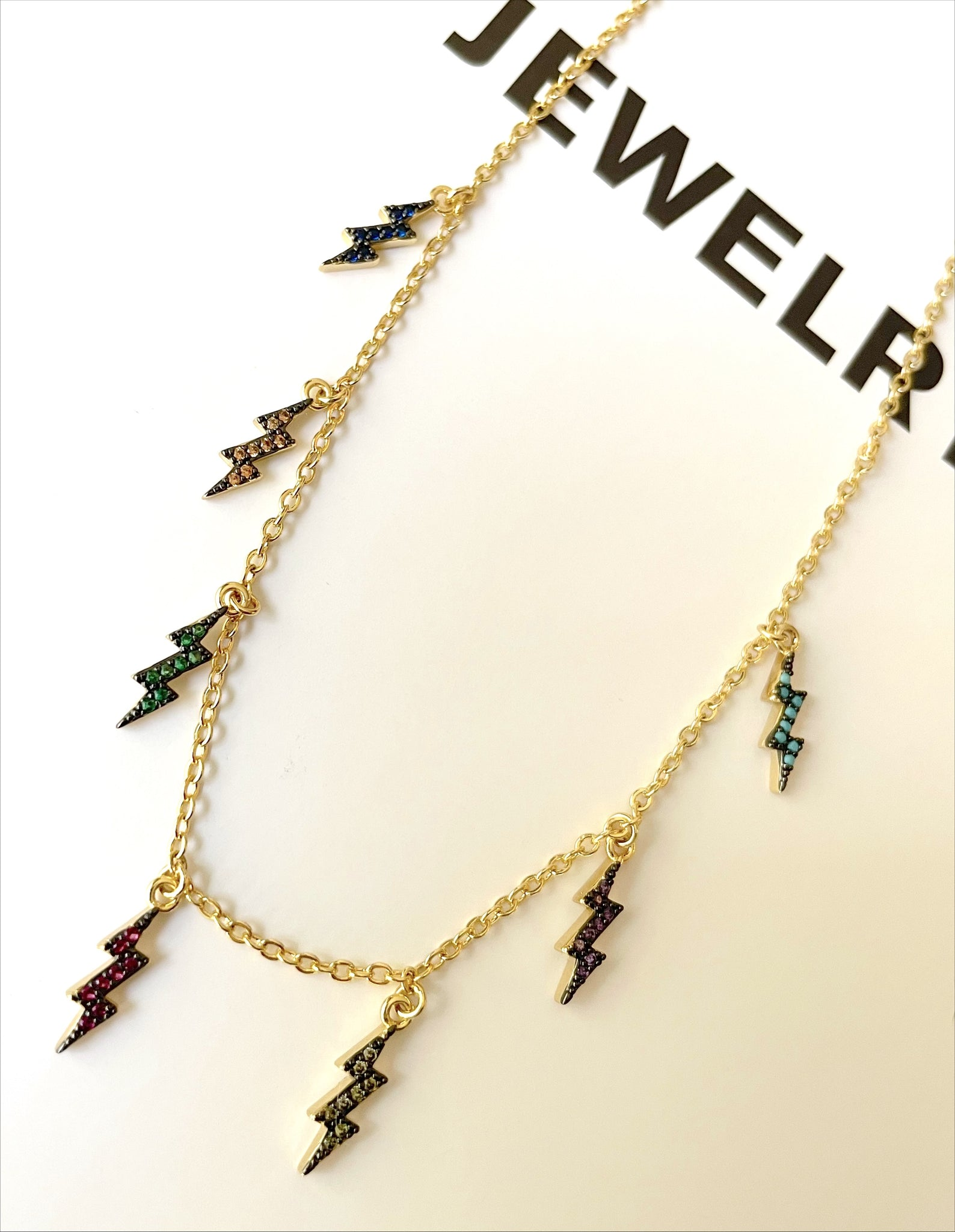 Colored lightning necklace