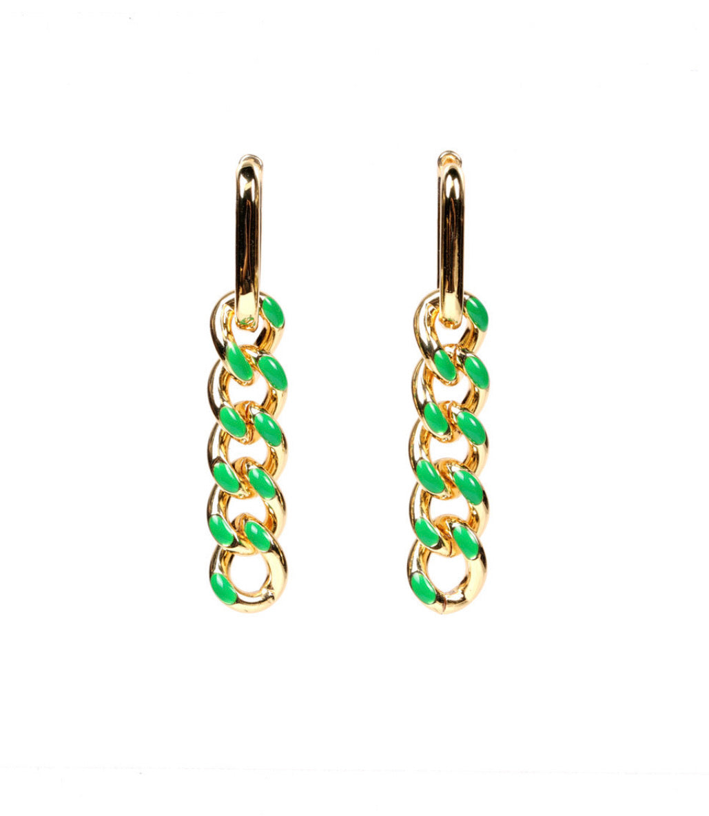 Colored Links Dropping Earrings