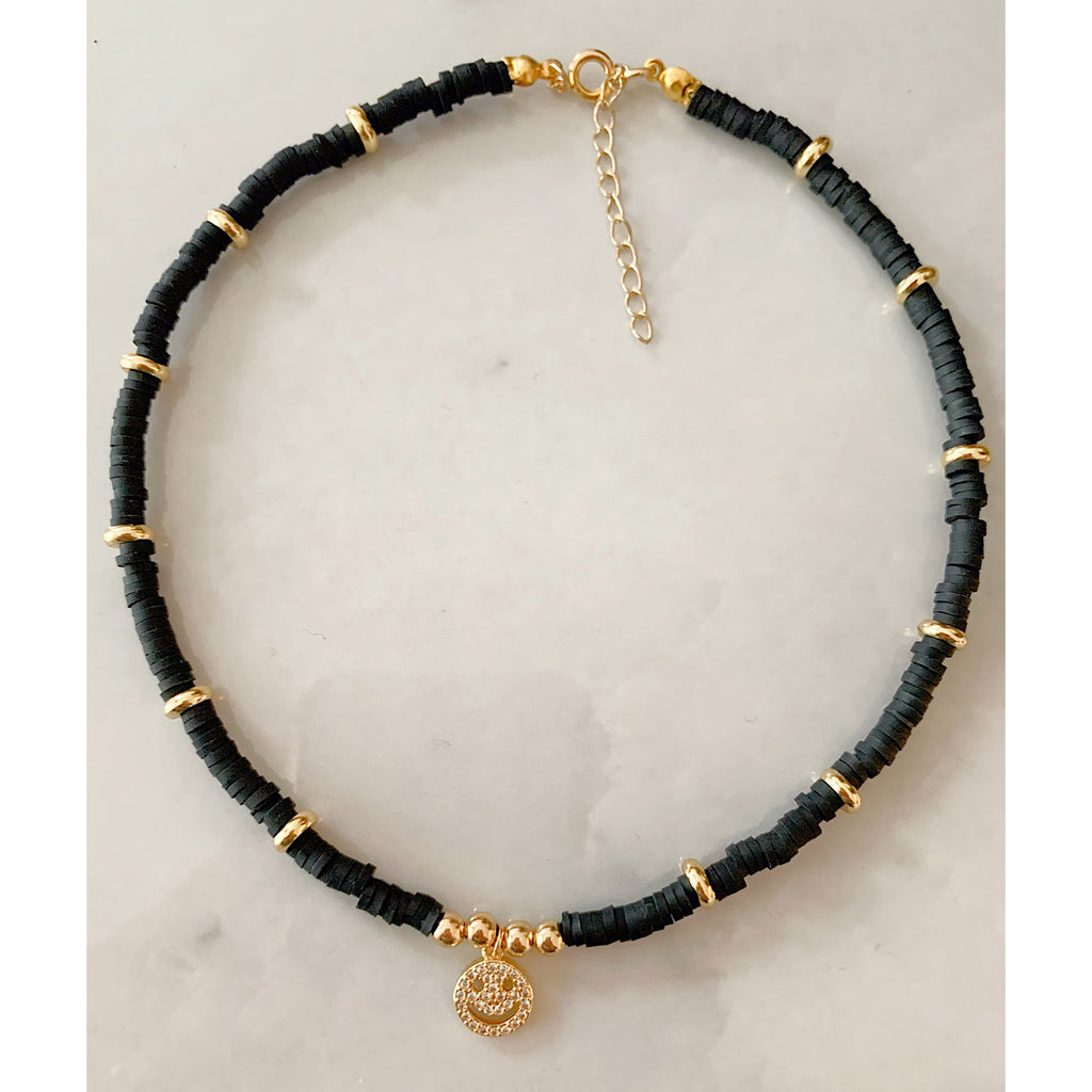 Happy Face Black Choker