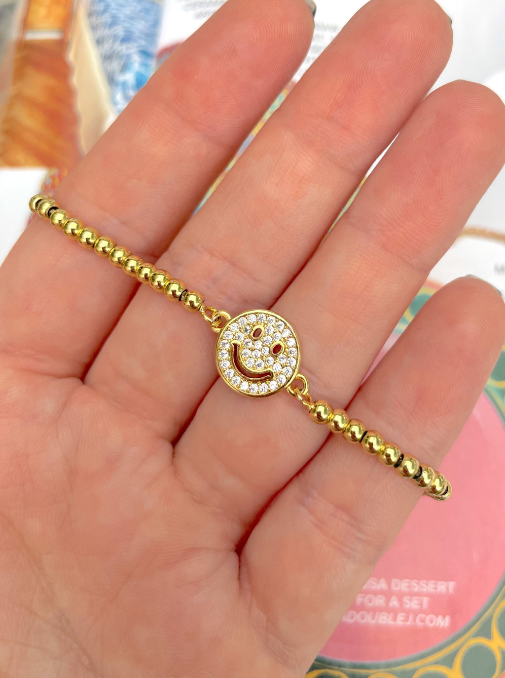 CZ happy face adjustable bracelet