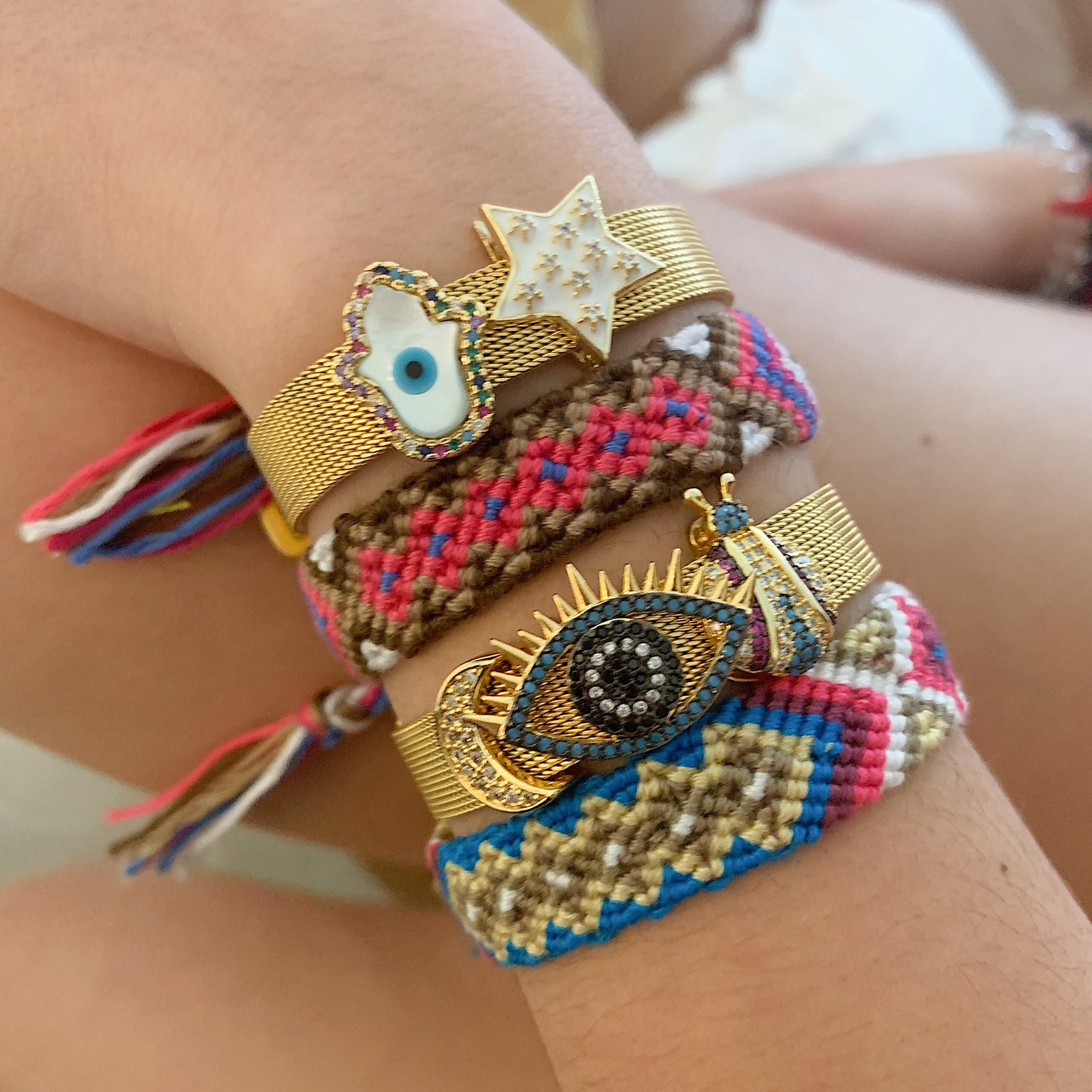 Mesh Adjustable Bracelets with mix & match charms