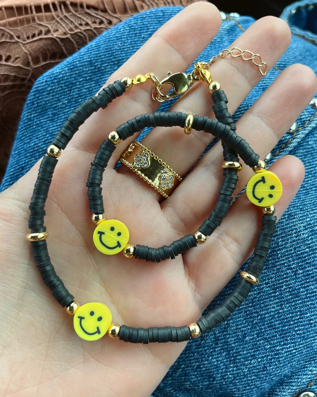 Happy face black rubber necklace