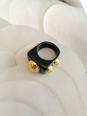Statement Colored Ring With Gold Circle