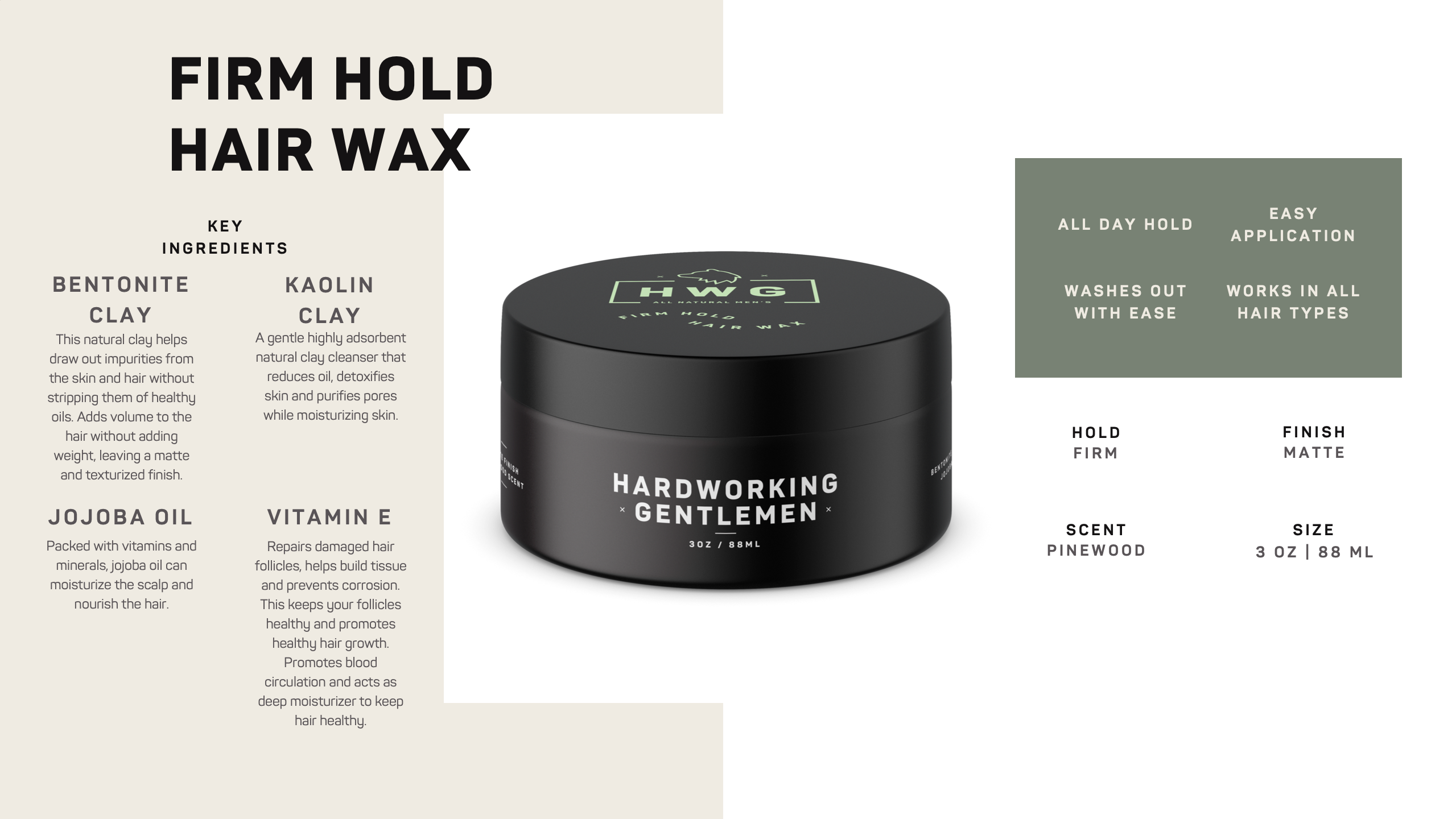 Hardworking Gentlemen Natural Firm Hold Hair Wax Styling Pomade