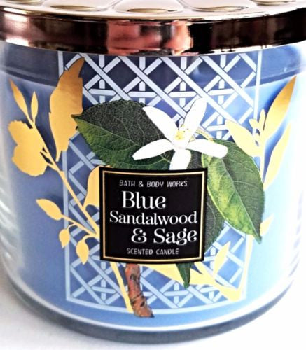 Bath & Body Works Blue Sandalwood & Sage 3 Wick Candle, Flower Bulb Lid 14.5 oz.